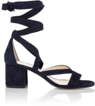 Barneys New York Women's Virginia Ankle-Wrap Sandals-NAVY $325 thestylecure.com