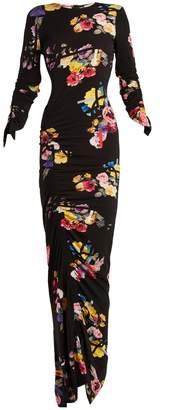 Elettra black floral-print stretch-crepe dress