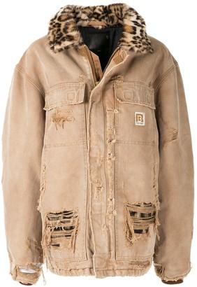R 13 oversized leopard collar denim jacket