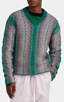 Marni Men's Striped V-Neck Sweater - Green
