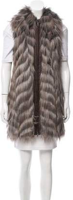 Rachel Zoe Patterned Faux Fur Vest w/ Tags