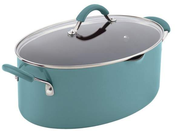Rachael Ray Cucina Nonstick 8-Quart Covered Oval Pasta Pot, Pour Spout