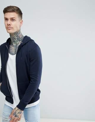 New Look Zip Through Hoodie In Navy