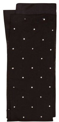 Valentino Crystal Embellished Sheer Tights - Womens - Black