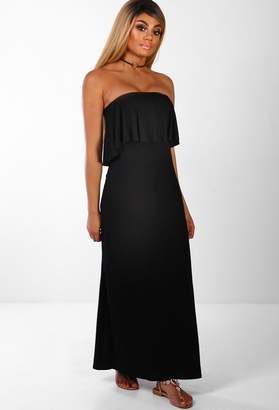 Pink Boutique Summer Loving Black Bandeau Frill Jersey Maxi Dress