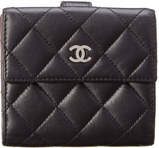 Chanel Black Quilted Lambskin Leather Bifold Wallet