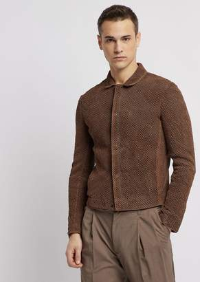 Emporio Armani Vegetable-Tanned, Perforated And Garment-Dyed Suede Jacket