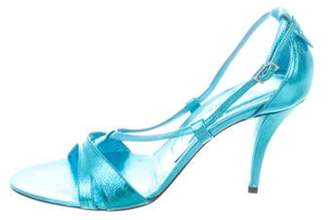 Roger Vivier Sex And The City Metallic Sandals w/ Tags Aqua Sex And The City Metallic Sandals w/ Tags
