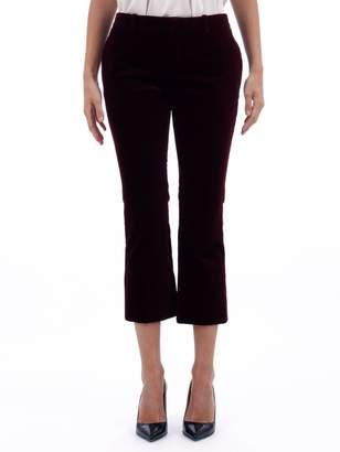 Saint Laurent Velvet Burgundy Cropped Pants