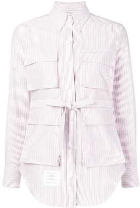 Thom Browne Striped Oxford Hunting Shirtdress