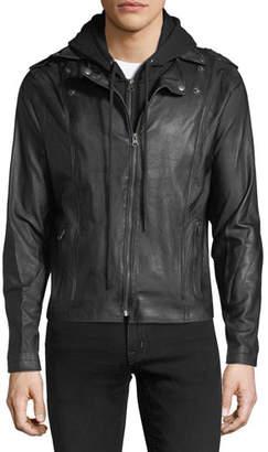 Jakett Hooded Zip-Front Moto Jacket, Black