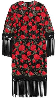 Dolce & Gabbana Tasseled Embroidered Cotton-Blend Mesh Dress