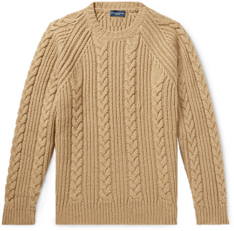 Peter Millar Chalet Cable-Knit Camel Hair-Blend Sweater