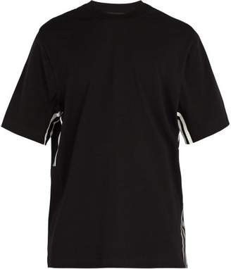 Y-3 - Striped Short Sleeve Cotton Jersey T Shirt - Mens - Black