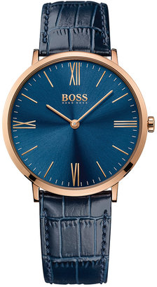 BOSS Hugo Boss Men's Jackson Blue Leather Strap Watch 40mm 1513371 $235 thestylecure.com
