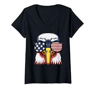 Womens Bald Eagle July 4th American Patriot Freedom USA Flag V-Neck T-Shirt