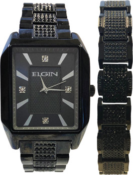 Elgin Mens Blacktone watch and mathing bracelet