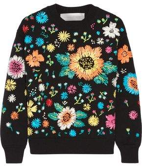 Victoria Beckham Victoria Faux Raffia-Embroidered Knitted Sweater