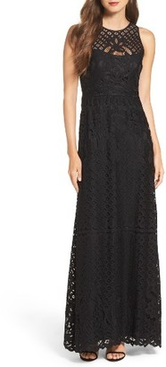 Women's Vera Wang Illusion Yoke Lace Maxi Dress $368 thestylecure.com