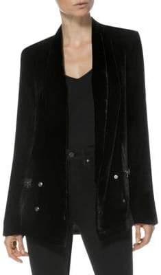 Paige Karissa Velvet Zip-Pocket Blazer