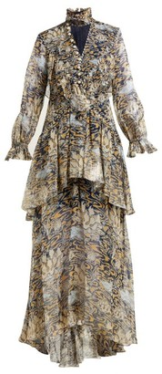 Peter Pilotto Lurex Abstract Print Layered Silk Blend Gown - Womens - Blue Multi
