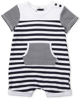 Absorba Newborn Boys) Navy Stripe Short Sleeve Romper