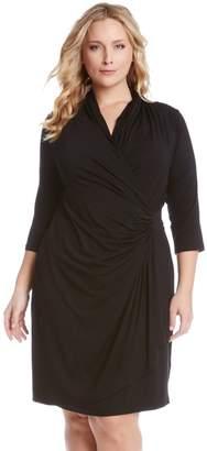 Karen Kane Three Quarter Sleeve Jersey Cascade Faux Wrap Dress