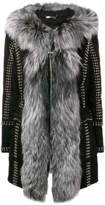 Philipp Plein studded zipped fur-trim coat