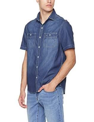 9a81f36a67ca Trimthread Men s Casual Short Sleeve Regular Fit Distressed Denim Work Shirt  Double Pockets (