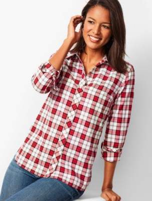 Talbots Classic Cotton Shirt - Holiday Plaid