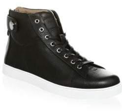 Gianvito Rossi Grain Leather Strap Mid Sneakers