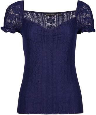 b257487b6553 Dorothy Perkins Womens Navy Milkmaid Lace Top