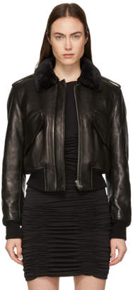 Alexander Wang Black Lambskin Cropped Aviator Jacket
