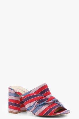 boohoo Striped Knotted Front Mule Heels