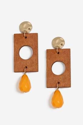 Topshop Womens Wooden Bead Drop Earrings