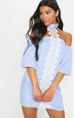 PrettyLittleThing Blue Stripe Lace Trim Shift Dress
