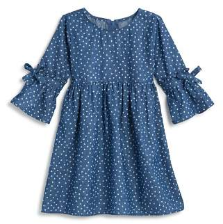 Design History Girls' Heart-Print Chambray Dress - Little Kid