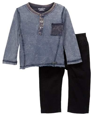 Stripe Jersey Wash Henley & Jeans 2-Piece Set (Baby Boys)