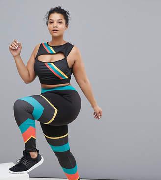 South Beach Plus Gym Leggings In Rainbow Stripe