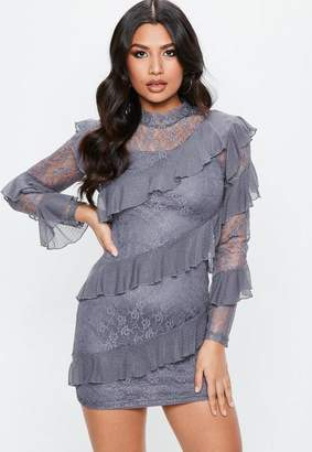 Missguided Gray Lace Long Sleeve Frill High Neck Shift Dress