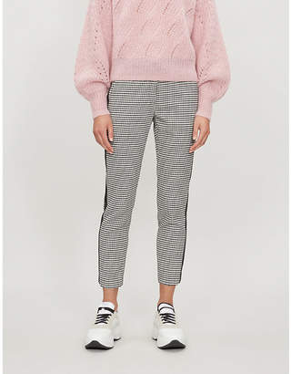 Claudie Pierlot Houndstooth-patterned high-rise slim-fit woven trousers
