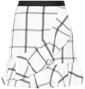 Self-Portrait Self Portrait Checked crepe miniskirt