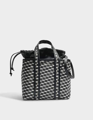 Pierre Hardy Tote Bag in Black and White Cube Canvas and Calfskin