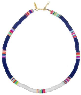ALLTHEMUST Navy and White Heishi Bead Necklace - Yellow Gold