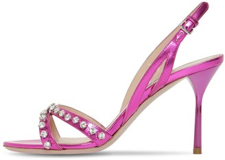 Miu Miu 85MM EMBELLISHED METALLIC LEATHER SANDAL