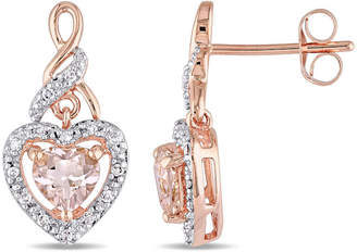 FINE JEWELRY 1/8 CT. T.W. Pink Morganite 10K Rose Gold Heart Ear Pins