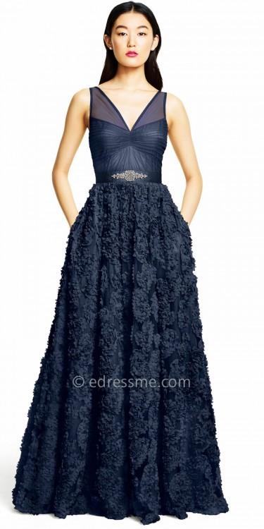 Adrianna PapellAdrianna Papell Floral Applique A-line Evening Dress