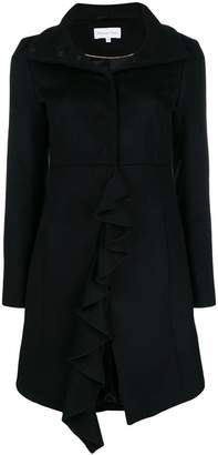 Patrizia Pepe ruffle trimming coat