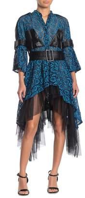 TOV Cascading Lace Faux Leather Trim Dress