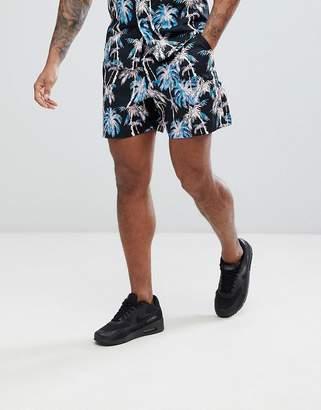 Asos DESIGN Two-Piece Slim Shorts In Black With Hawaiian Print
